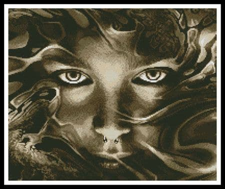 Abstract Face Sepia (Crop) by Artecy printed cross stitch chart